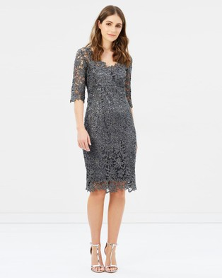 Montique – Patritzia Metallic Shift Dress Gunmetal