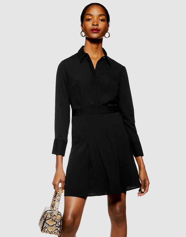 TOPSHOP Petite - Pleated Mini Shirt Dress