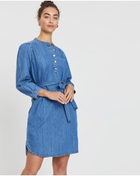 Gap - Shirred Popover Denim Shirt Dress