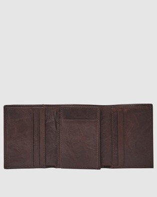 Fossil Neel Brown Trifold Wallet - Wallets (Brown)