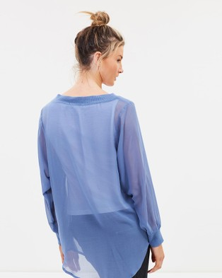 Lincoln St The Sheer 2 Way Pullover - Tops (Blue Ash)