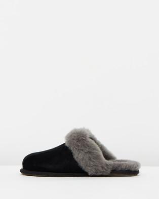 UGG Womens Scuffette II Slippers - Slippers & Accessories (Black & Grey)