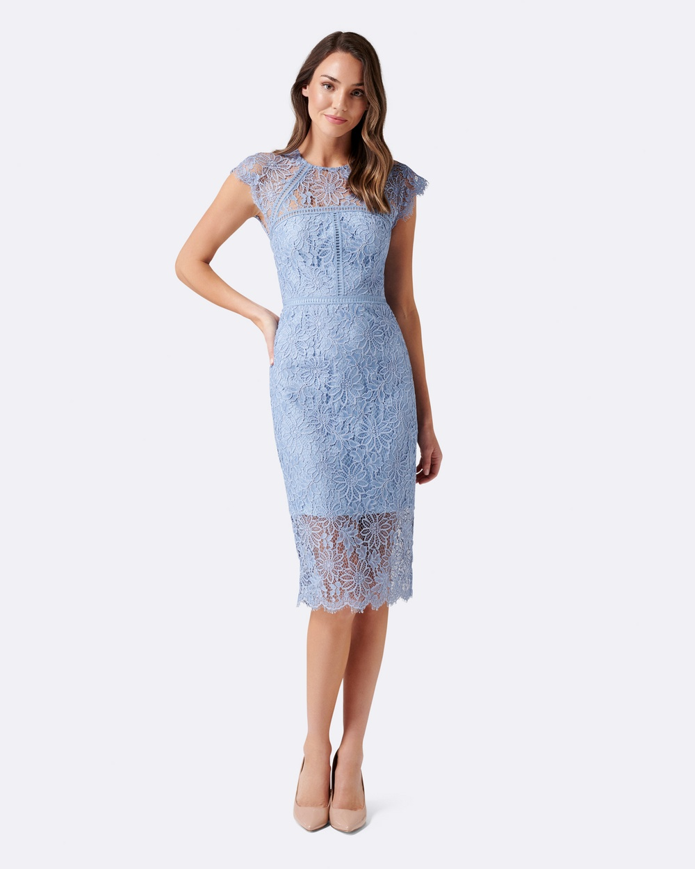 Forever New Tara Lace Pencil Dress Bridesmaid Dresses Brilliant Blue Tara Lace Pencil Dress