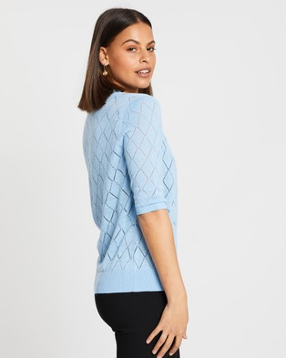 Atmos&Here Lucy Button Front Knit Cardigan - Jumpers & Cardigans (Pastel Blue)