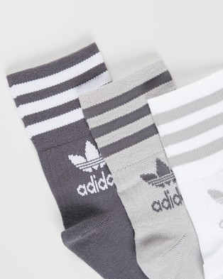 adidas Originals Mid Cut Solid Crew Socks 3 Pack - Crew Socks (Solid Grey & Grey Five)