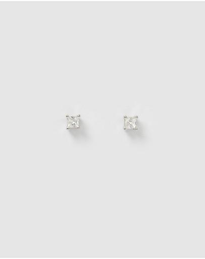 Izoa Dion Mini Stud Earrings Silver