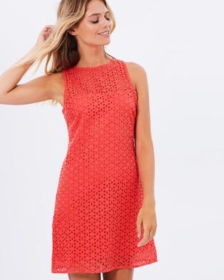 Atmos & Here – Katherine Eyelet Shift Dress – Dresses (Coral)