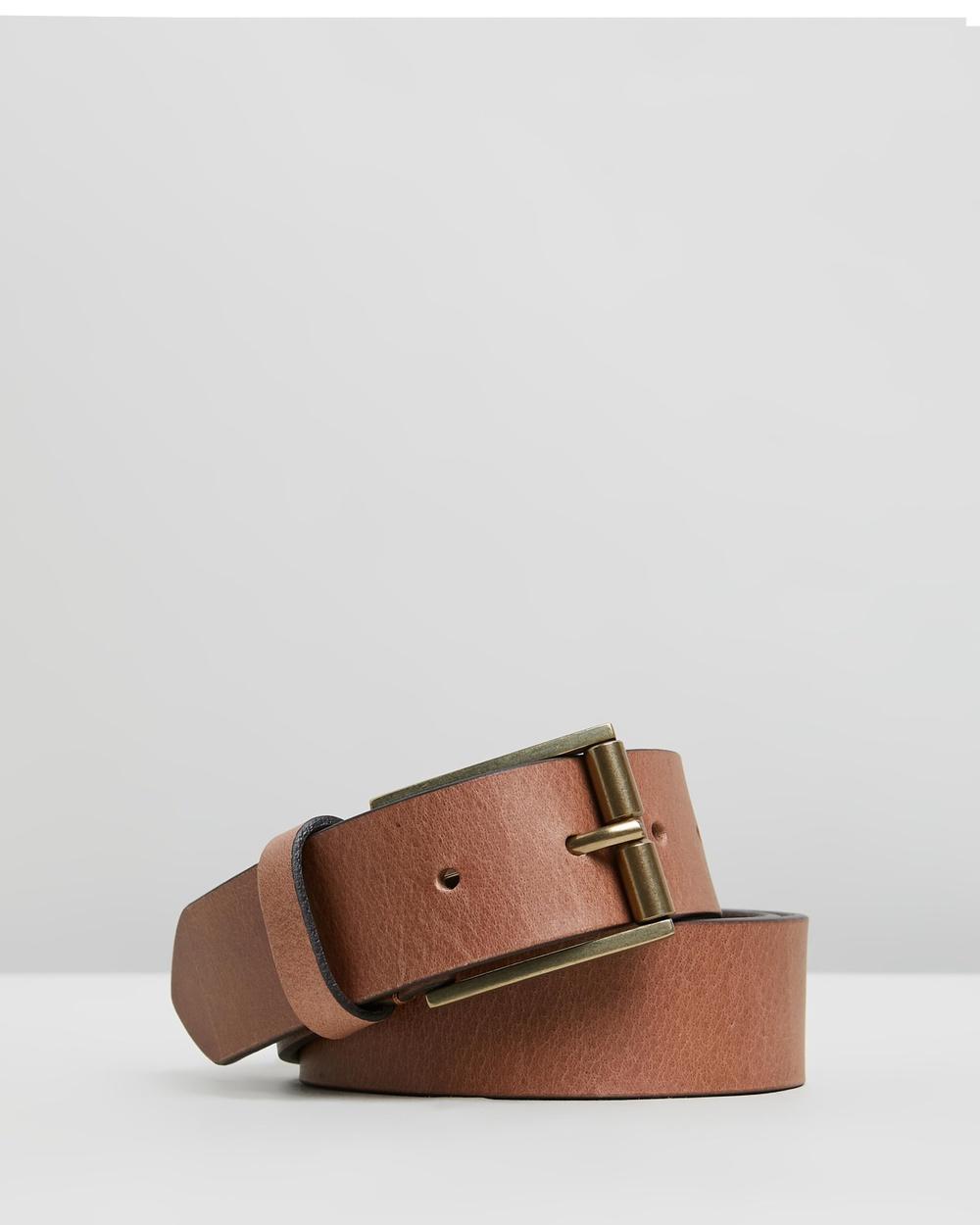 Double Oak Mills Smooth Leather 35mm Belt Belts Tan & Gold
