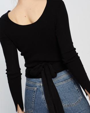 St Cloud Label Reversible V Neck Ballet Wrap - Jumpers & Cardigans (Black)