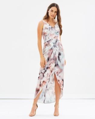 Alabaster The Label – Athena Dress – Bridesmaid Dresses Blush Pink/Grey Print