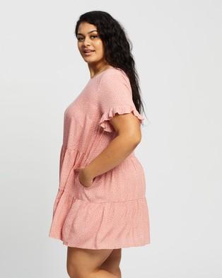 Atmos&Here Curvy - Barbara Mini Dress - Printed Dresses (Pink Base & White Spot) Barbara Mini Dress
