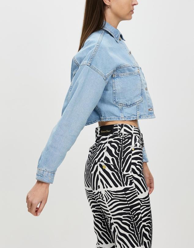 Women Puff Sleeve Crop Denim Jacket
