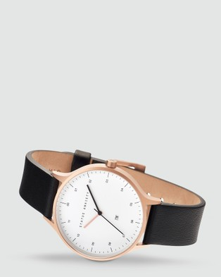 Status Anxiety Inertia - Watches (Brushed Cooper Case, White Face & Black Strap)
