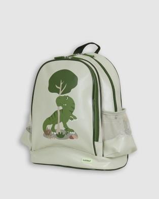 Bobbleart Large Backpack Lunch Bag Bento Box and Drink Bottle T Rex - Backpacks (Light Green)