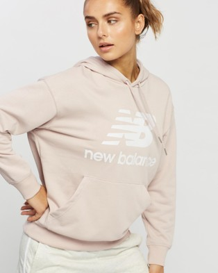 New Balance NB Essentials Stacked Logo Oversized Pullover Hoodie - Hoodies (Space Pink)
