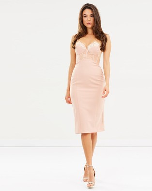 Love Honor – Empress Midi Dress – Bodycon Dresses (Powder)