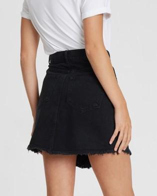 The Fated Rebel Distressed Denim Skirt - Denim skirts (Vintage Black)
