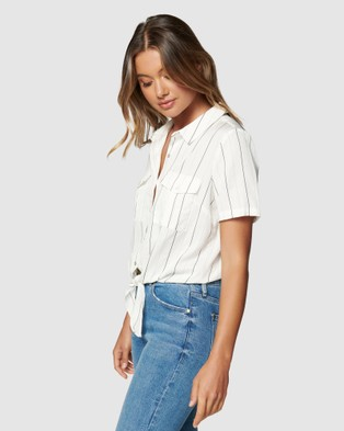 Forever New Eden Knot Front Stripe Shirt - Tops (Porcelain & Black Stripe)