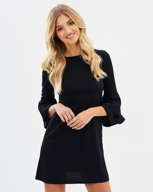 Miss Selfridge – Flute Sleeve Barbara Dress Black