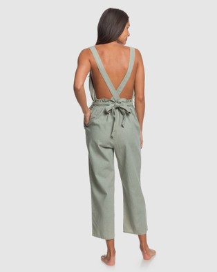 Roxy Womens Love Love Love Linen Jumpsuit - Sleeveless (Lily Pad)