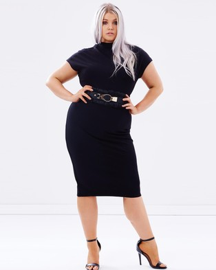 Lost Ink Plus – High Neck Belted Body Con Dress – Bodycon Dresses (Black)