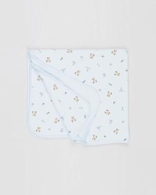 Polo Ralph Lauren - Reversible Bear Blanket   Babies - Blankets (Blue Multi) Reversible Bear Blanket - Babies