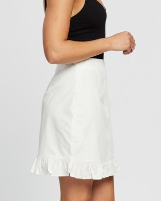 Missguided Co Ord Poplin Crochet Frill Mini Skirt - Skirts (White)