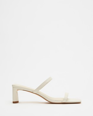 AERE - Double Strap Leather Mule Heels Shoes (Cream Leather)