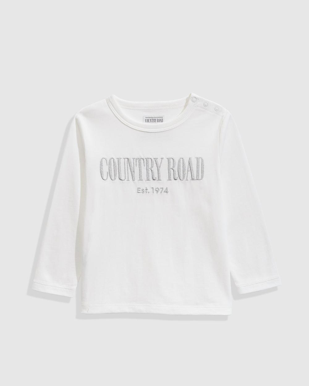 Country Road Verified Australian Cotton Long Sleeve Heritage T shirt T-Shirts & Singlets silver T-shirt Australia