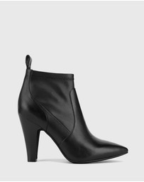 Wittner - Holten Leather & Synthetic Stretch Block Heel Booties