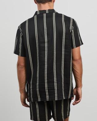 Stussy Stripe Linen Shirt - Casual shirts (Black)