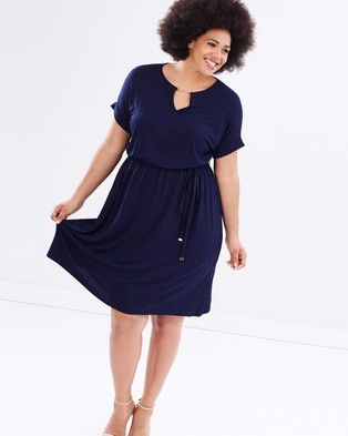 DP Curve – Jersey Midi Dress with Neck Bar – Dresses (Navy)