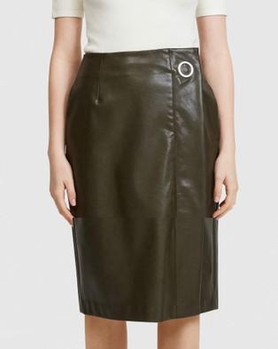 ARIS Vegan Leather Pencil Skirt - Leather skirts (Khaki)