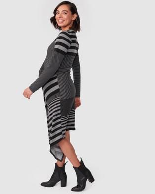 Pea in a Pod Maternity Clarissa Dress - Dresses (Black Grey Stripe)
