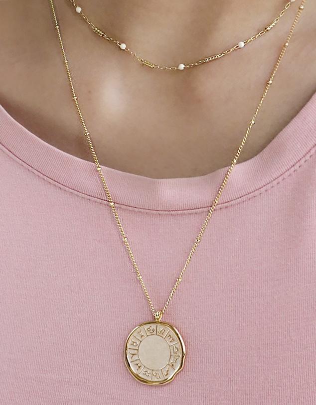 Women Beaded Bar Ivory Enamel Chain Gold Necklace