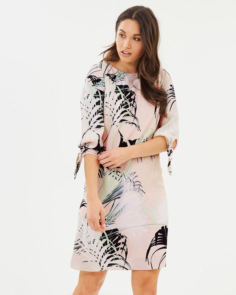 Wallis Black & White Pretty Palm Tie Sleeve Shift
