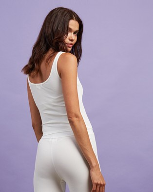 Dazie Lounge About Ribbed Tank Top - Sleepwear (White)