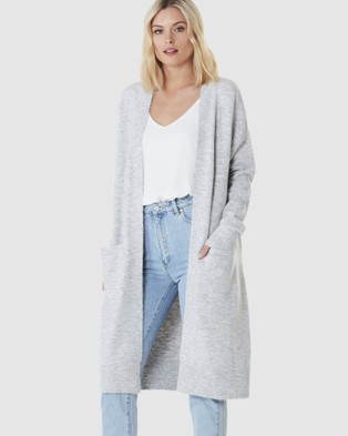 Everly Collective Toronto Long Cardigan - Jumpers & Cardigans (Light Grey)