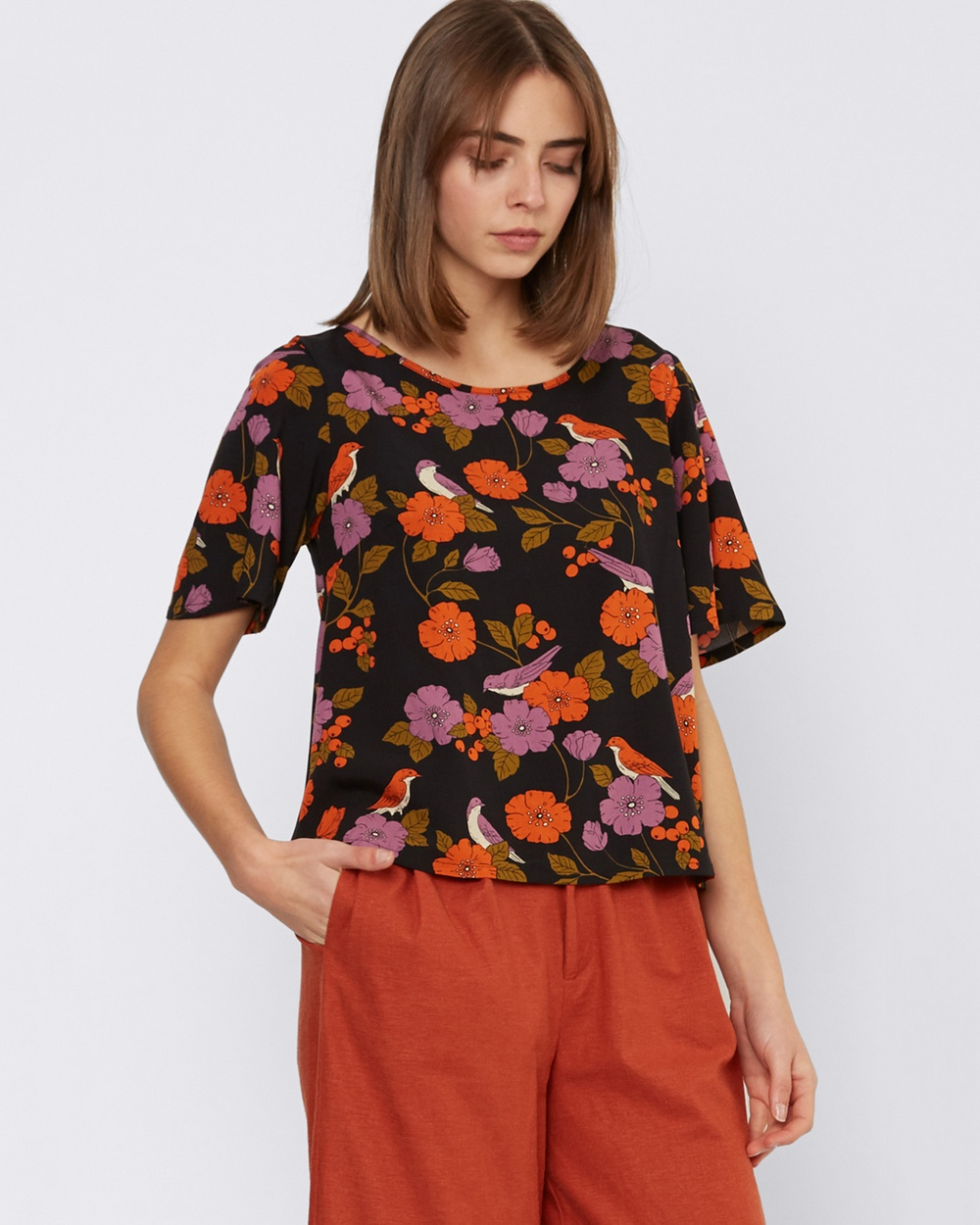 Princess Highway Bird And Berry Top Tops Black Bird And Berry Top