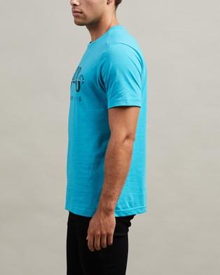 BOSS Curved Logo Print Tee - T-Shirts & Singlets (Open Blue)