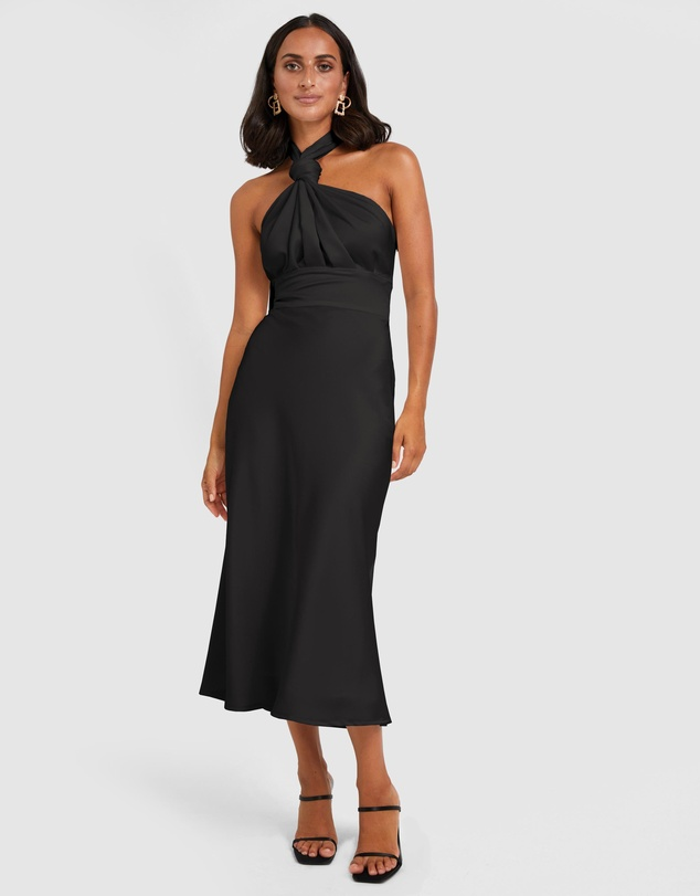 BY JOHNNY. - Knotted Neck Tie Midi Dress