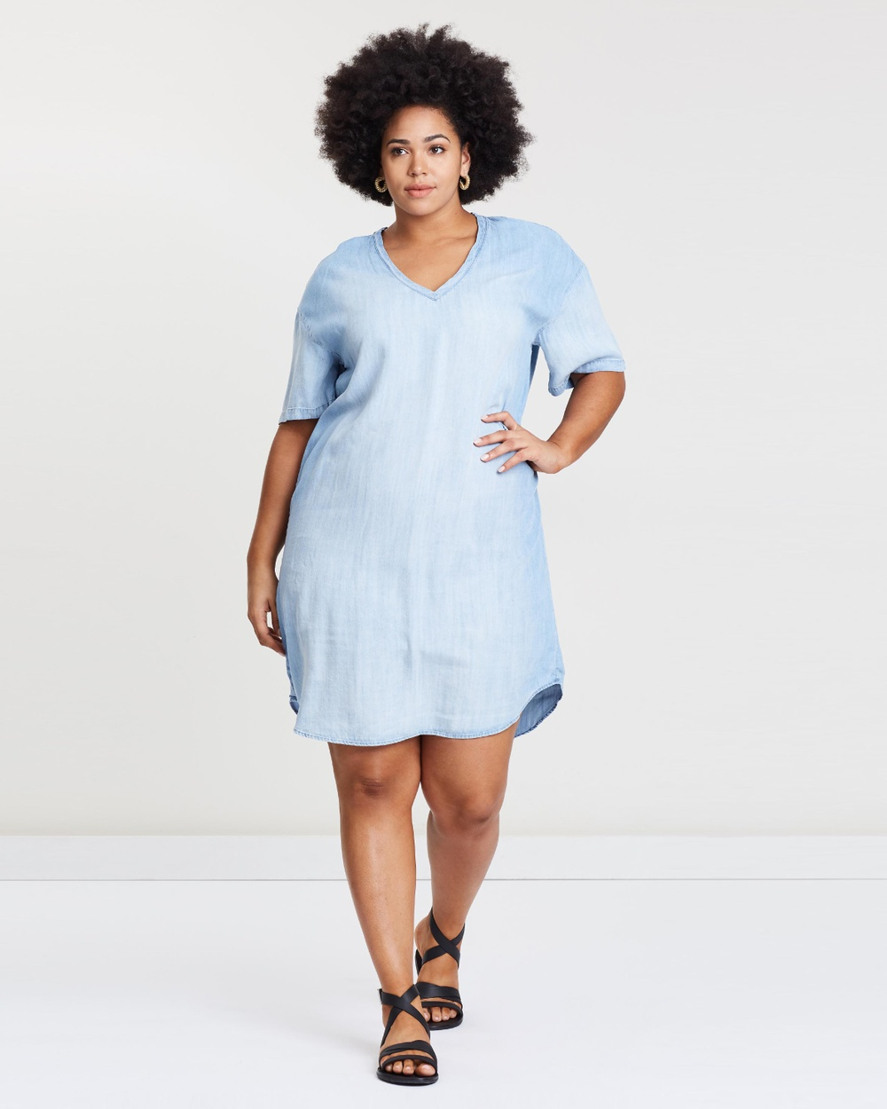 Wite Plus Chambray Ava Dress