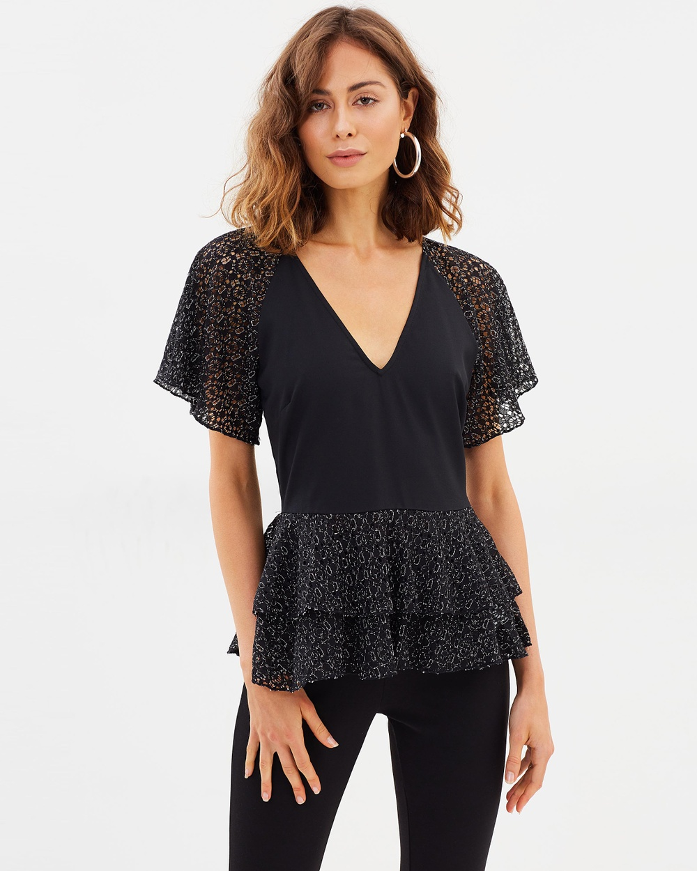 Atmos & Here ICONIC EXCLUSIVE Lily Lace Peplum Top Tops Black Lace ICONIC EXCLUSIVE Lily Lace Peplum Top