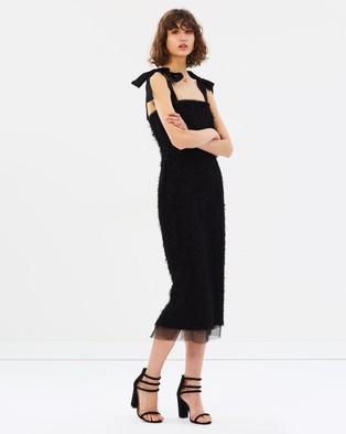 Rebecca Vallance – Martina Tie Shoulder Midi Dress – Dresses (Black)
