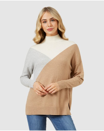 French Connection - High Neck Geo Knit