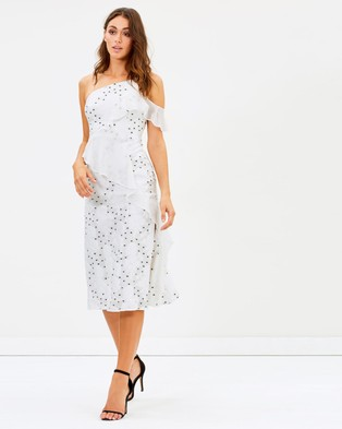 Talulah – Associates Midi Dress White Floral & Black Spots