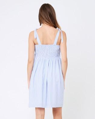Ripe Maternity Sally Tie Front Nursing Dress - Dresses (Sky Blue/White)