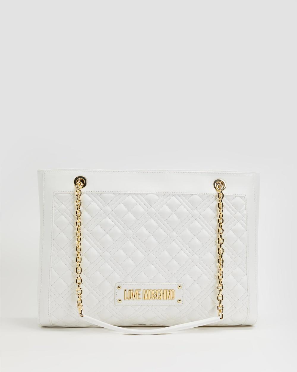 LOVE MOSCHINO Quilted Soft Rectangle Handbag Handbags Bianco