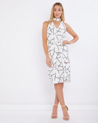 Tussah – Jemina Split Hem Midi Dress White & Black