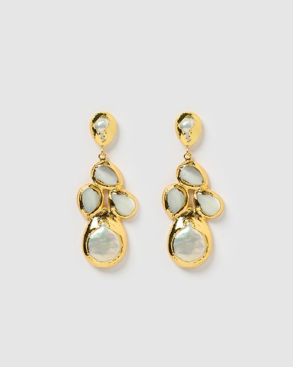 Miz Casa and Co Fleur Drop Earrings Jewellery Gold Pearl